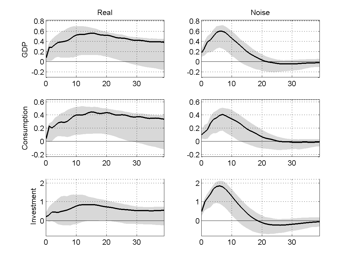 Figure 4: Impulse response functions to real (left column) and noise (right column)