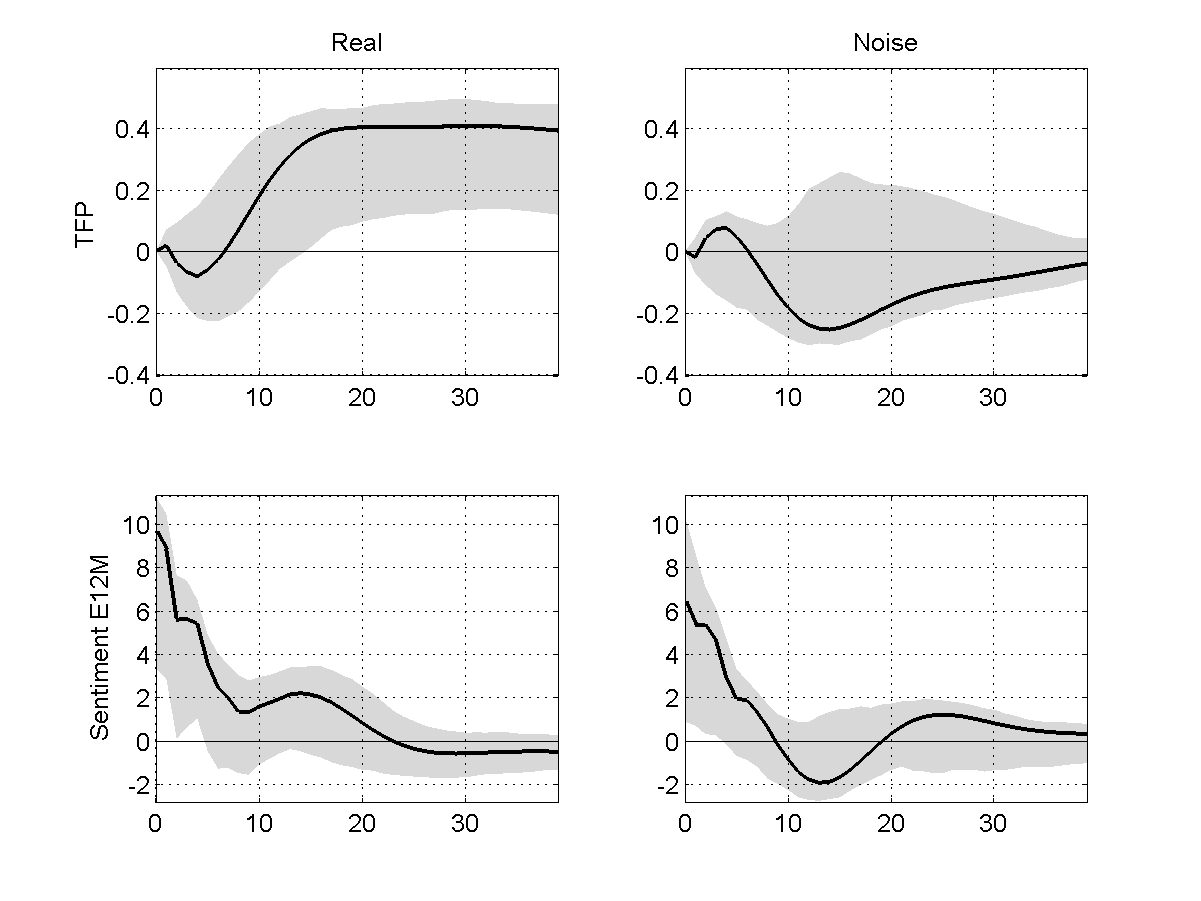 Figure 11: Impulse response functions to real (left column) and noise (right column) shocks in the benchmark