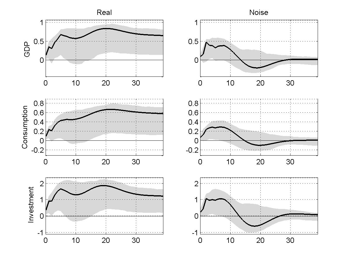 Figure 12: Impulse response functions to real (left column) and noise (right column) shocks in the benchmark