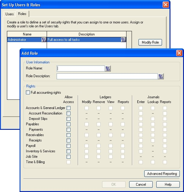 SYSTEM ADMINISTRATION products (like Crystal Reports or Microsoft Access). Only the sysadmin user has permission to create, assign, and remove user security roles.