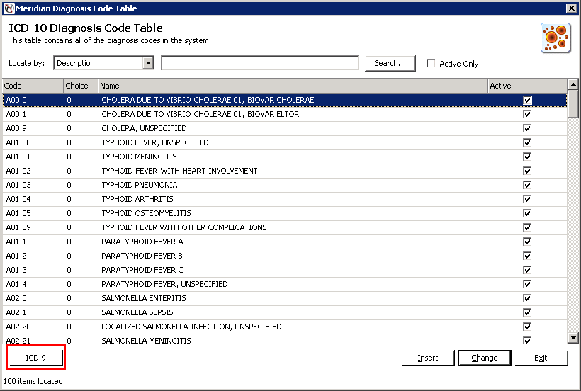 Highlight an ICD-10 cde in the table and then click the ICD-9 Buttn t view the ICD-9 cde that is linked t the selected ICD-10 cde.