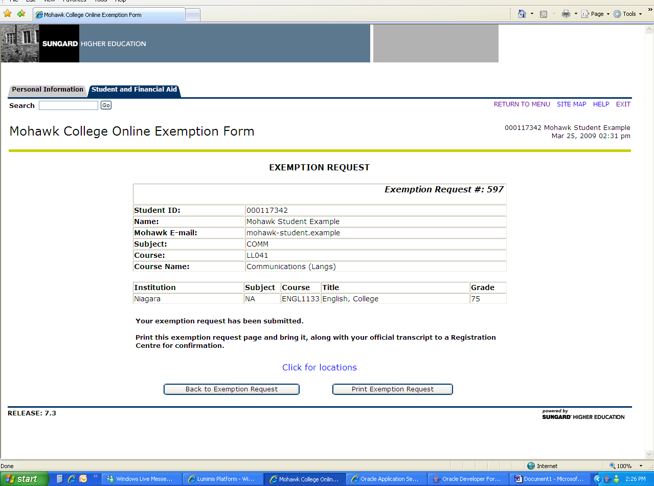 If the following screen is displayed, this means your Exemption Request fits SITUATION B1 as described in Step 4 above.