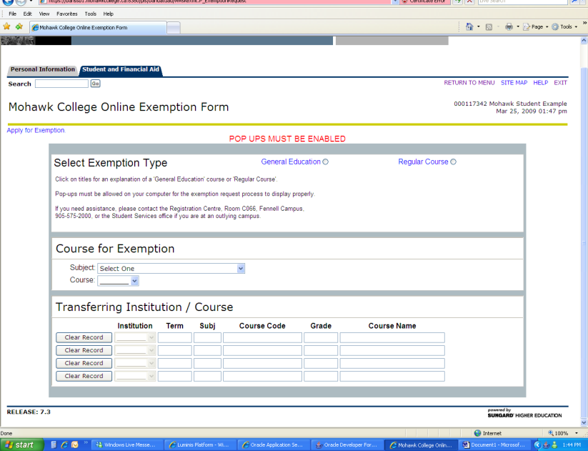 Click on Exemption Menu Click on Exemption Request The following screen will