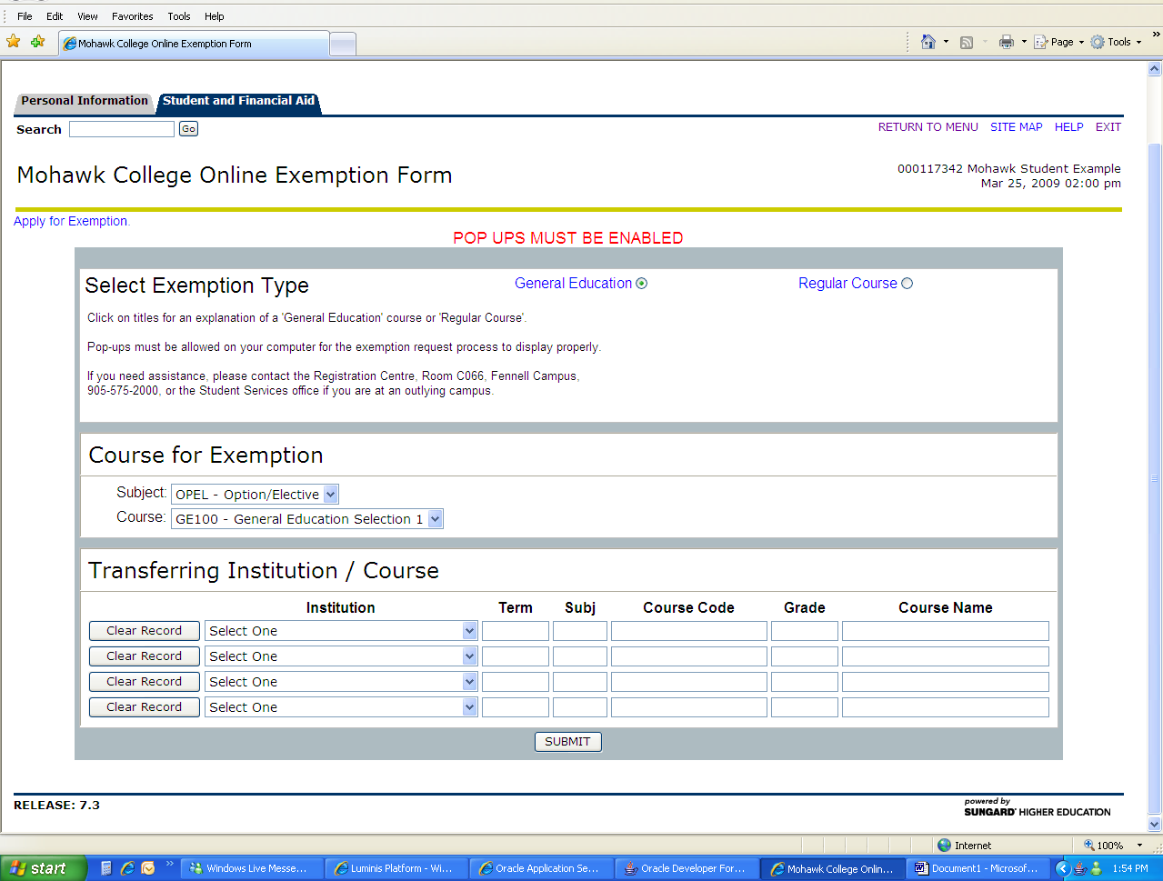Step 3: Choose the course for exemption If the course for exemption is a General