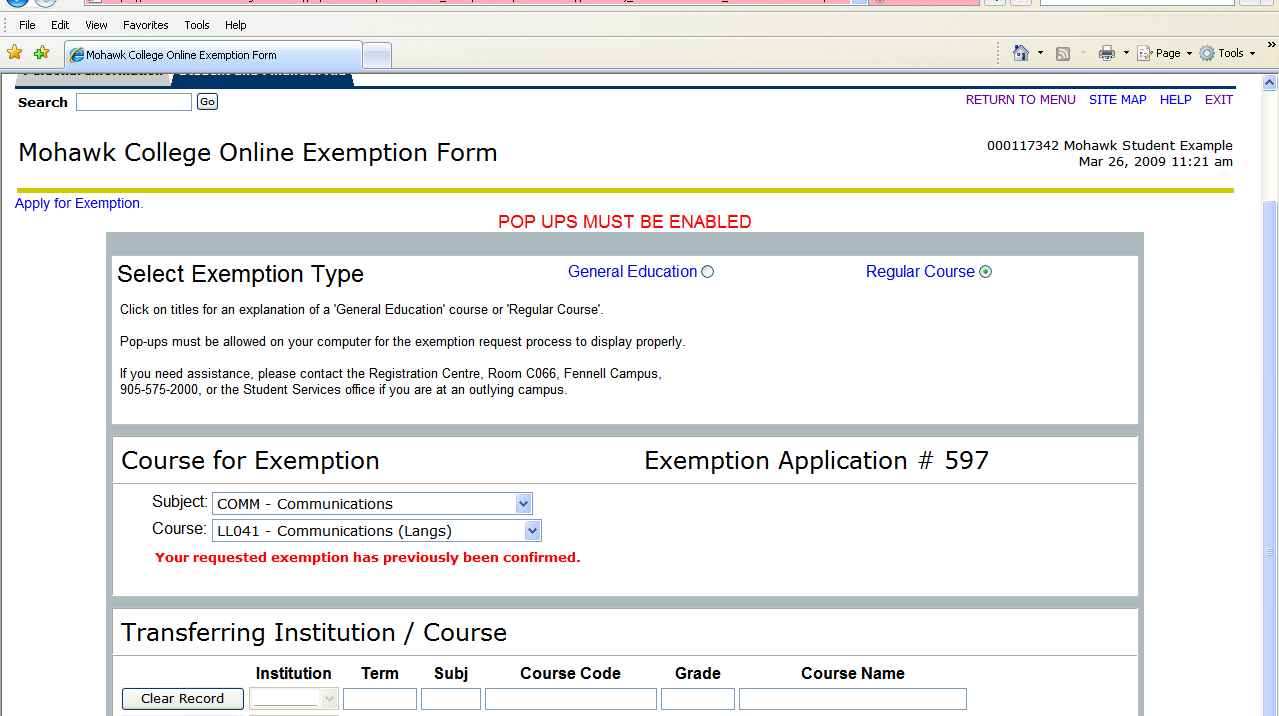 If you have already received an exemption for the Course for Exemption,