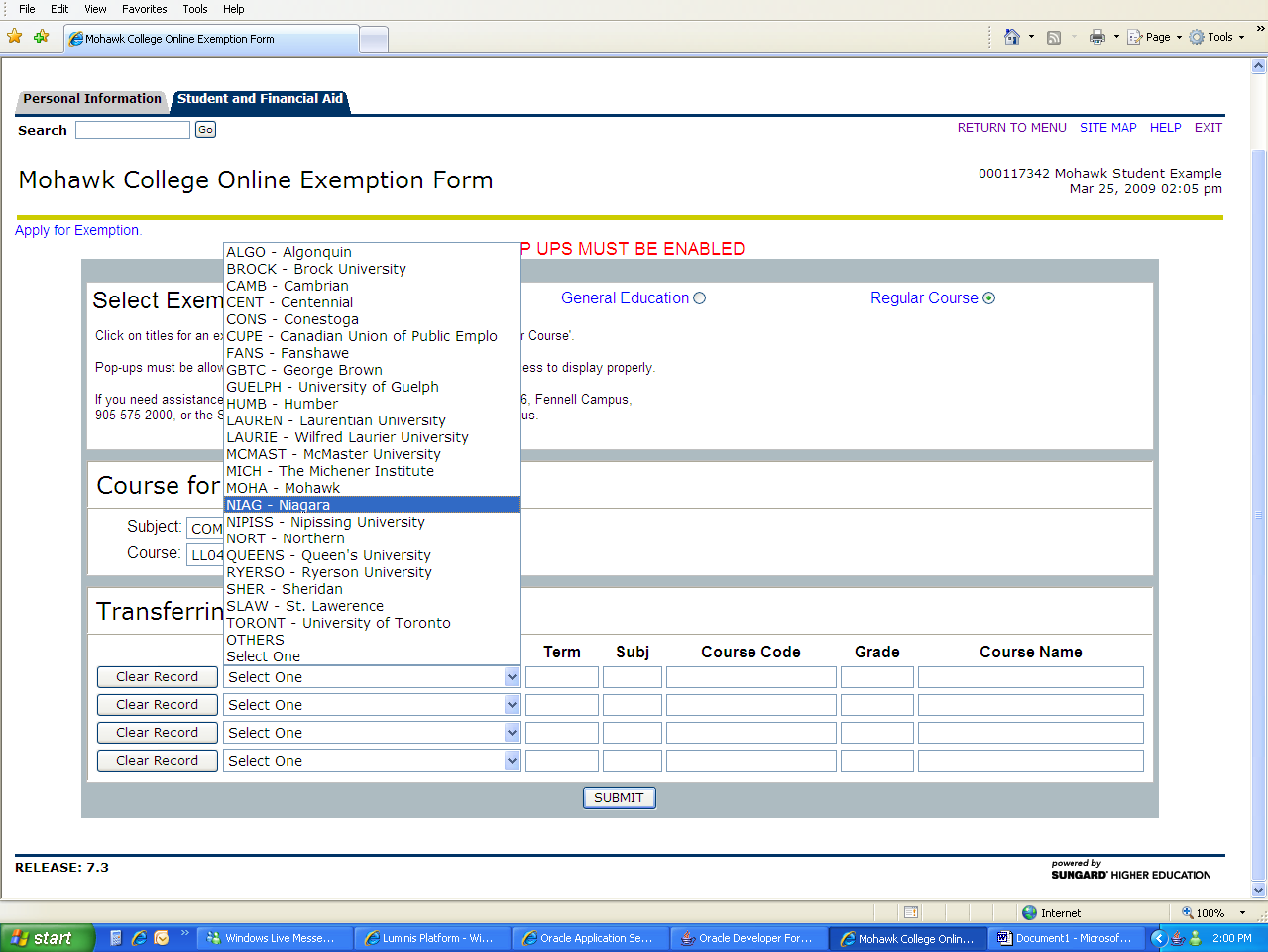 Step 4: Enter the Transferring Institution / Course information From