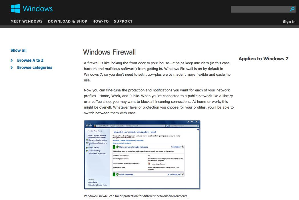 Computer Hardening Examples Windows Firewall Copyright
