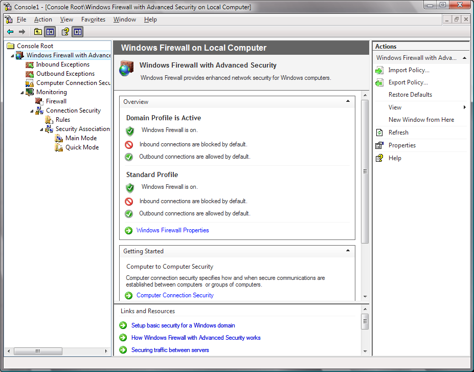Windows 7 Firewall Both inbound and outbound Authentication and authorization aware Outbound
