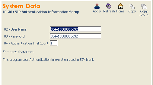 2.5 SIP Authentication Configuration All values shown are for example purposes only. Your actual values will be determined by your implementation team.