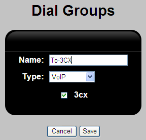 Figure 14: V114 Status Page 5. Select Dial groups under the PBX tab and click Add button. Create a new Dial Group To-3CX and assign the VoIP trunk 3CX to it as shown.