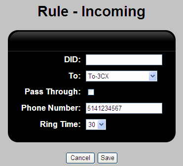 Figure 16: V114 - PBX Incoming Calls Edit Incoming Section 7.