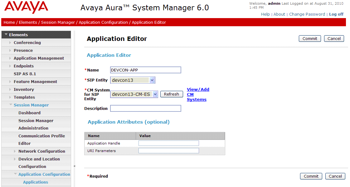 5.6. Add Application Sequence To define an application for Communication Manager, navigate to Elements Session Manager Application Configuration Applications on the left and select New button (not