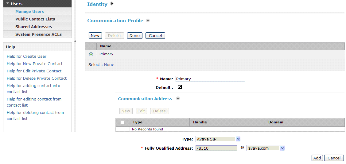 Scroll down to the Communication Profile section and select New to define a Communication Profile for the new SIP user.