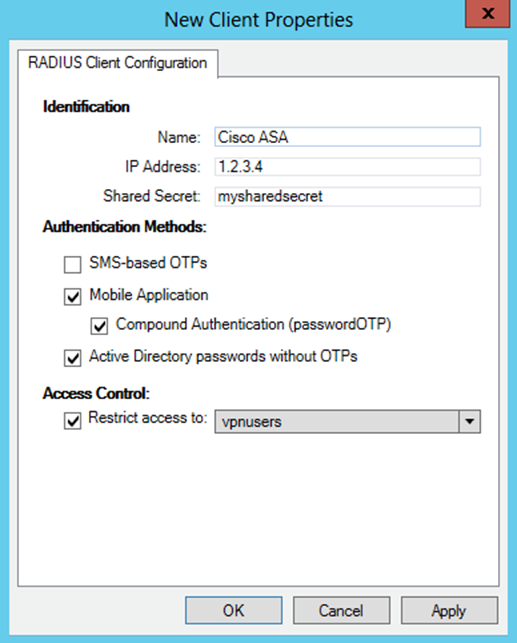 2. Prerequisites Configuring the VPN for 2FA requires: A functional ESA RADIUS server that has your Cisco Internet Protocol Security (IPSec) SSL VPN configured as a client, as shown in Figure 1.