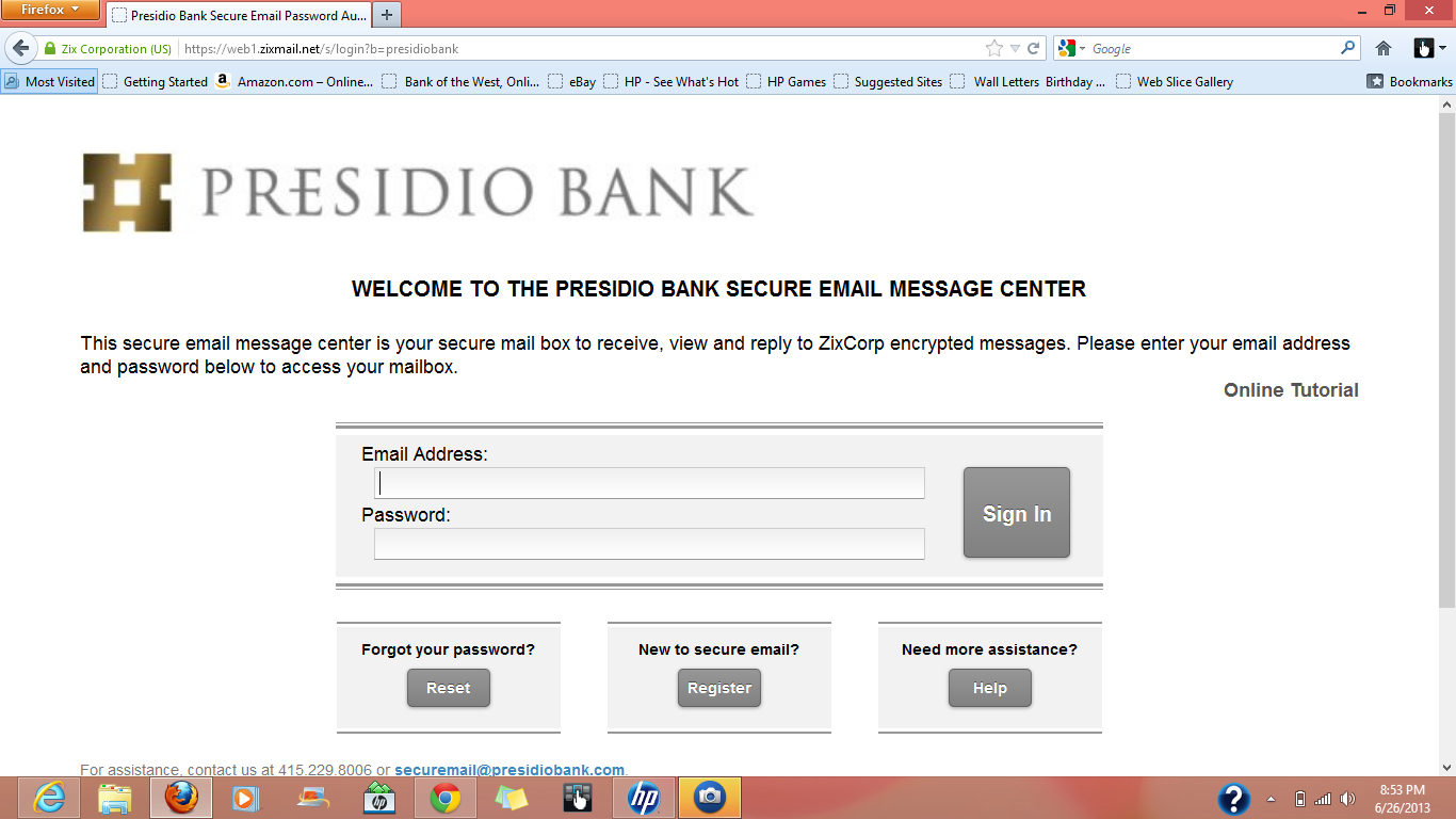 Forgot Your Password or Just Want to Create a New One? Important! If you forget your password, you do not need to notify Presidio Bank to have it reset.
