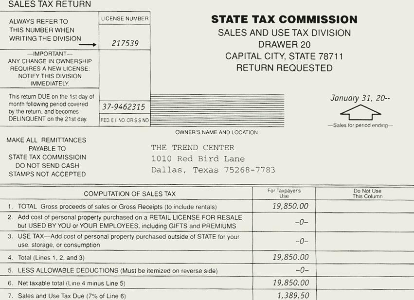 7-45 Sales Tax Computation Taxable Gross Sales for January $27,350.