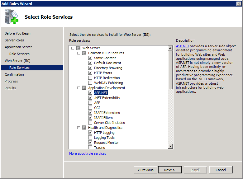 Select Web Server (IIS) On the Web Server Role Services page add