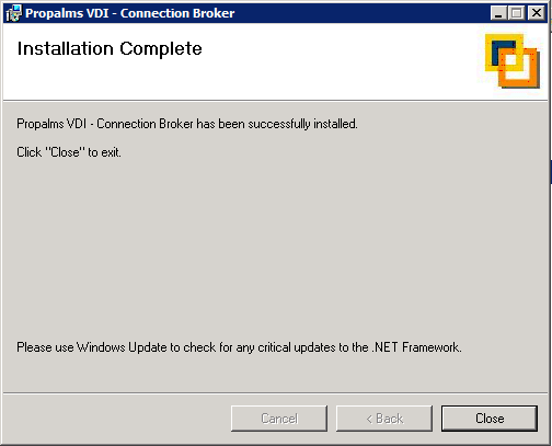 Once the setup is complete you will see the following screen which completes the VDI connection broker installation.