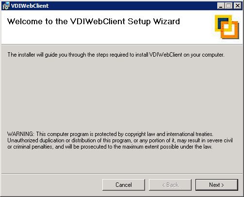 INSTALLING VDI WEB CLIENT If you want to connect to VDI desktops via a web interface then you need to install the VDI Web Client.