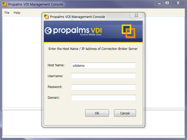 CHAPTER 3 PROPALMS VDI MANAGEMENT CONSOLE VDI CONFIGURATION 1. Add Authentication Server/s 2. Add Users, Groups, and OUs in the configuration database. 3. Add Virtualization Hosts: A Virtualization Host is a physical machine where virtualization platform is installed for hosting virtual machines.