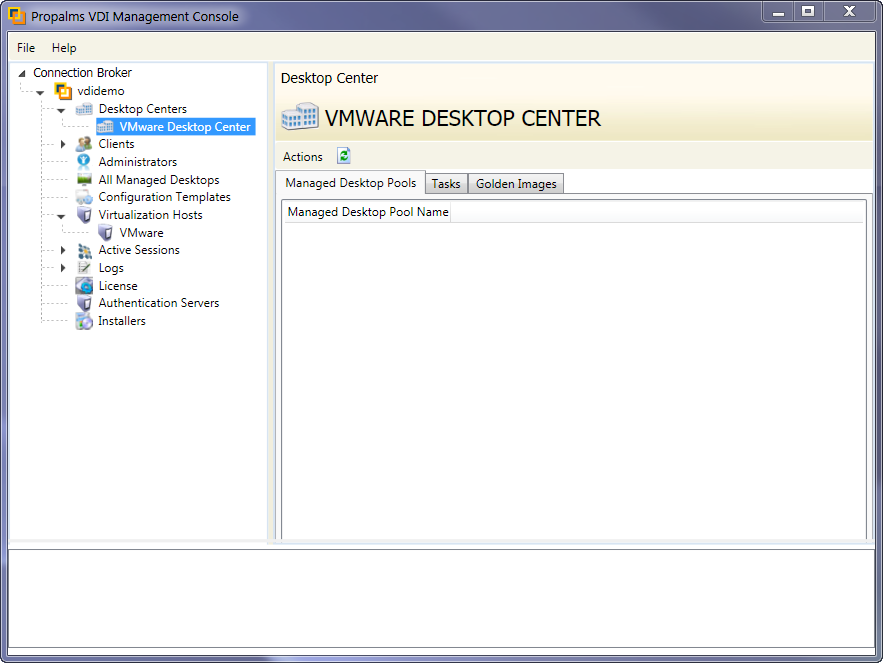 Once virtualization hosts are selected click Finish and you will see the new Desktop Center listed under Desktop Centers.