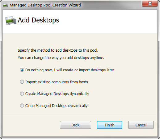 At the final stage of creating the new Managed Desktop Pool you have the option to Add Desktops.