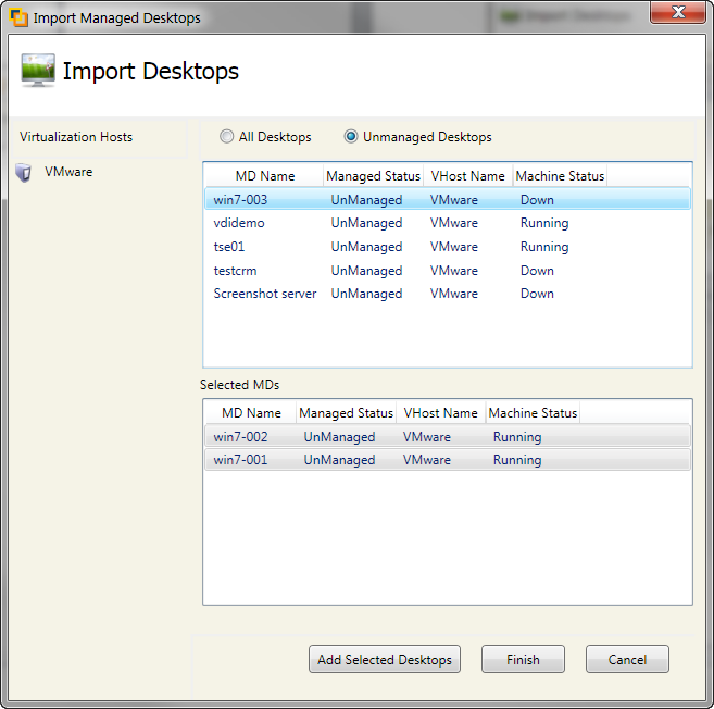 IMPORT EXISTING COMPUTERS FROM HOSTS If you already have desktop instances running on your virtualization host then you can import them into the VDI management console.