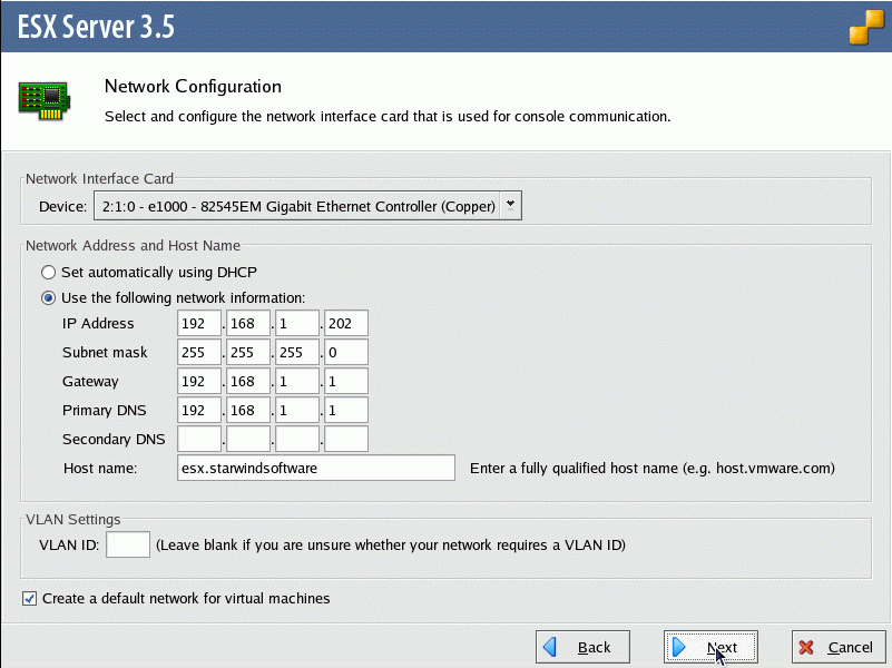 On the Network Configuration dialog, specify the network options.