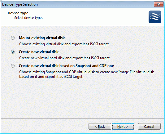 Select Create new virtual disk to create a new hard disk image or Mount existing virtual disk to mount an existing