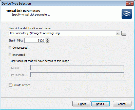 If you have decided to create a new virtual disk, specify the location and the name of the virtual disk you want to be created. The virtual disk size is specified in megabytes.