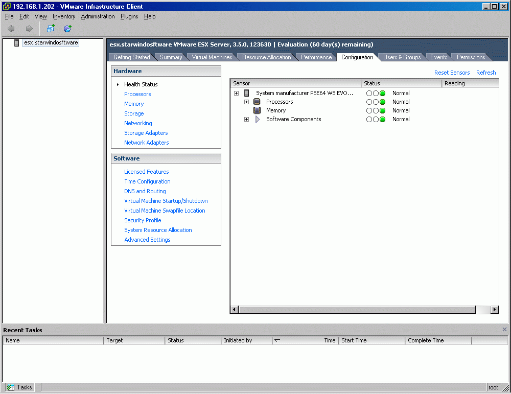 Configuring ESX Server to work with iscsi connections Configure the VMkernel TCP/IP Networking