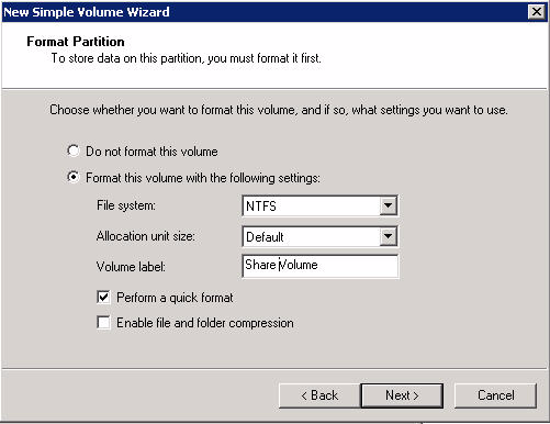 9. On the Format Partition page, click Format this volume with the following settings button, and complete the following: a) From the File System list, select NTFS.