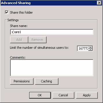 Configuring the ARX for VMware ESX virtualized Windows Server 2008 in a Managed Volume 2. Click the Sharing tab, and then click the Advanced Sharing button. 3.