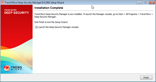 Installing the Deep Security Manager 12. Select Launch the Deep Security Manager console to open web a browser to the Deep Security Manager URL when setup is complete.