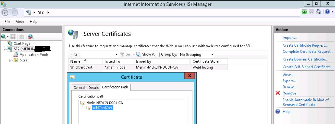 Ensure that you change the SSL port 443 binding to use the newly-added certificate. 1.