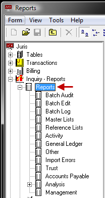 Reports Preview Reports (view and print) The Reports section lists all Juris Reports. The reports are sorted by categories. Click on Reports and the list of report categories will appear.