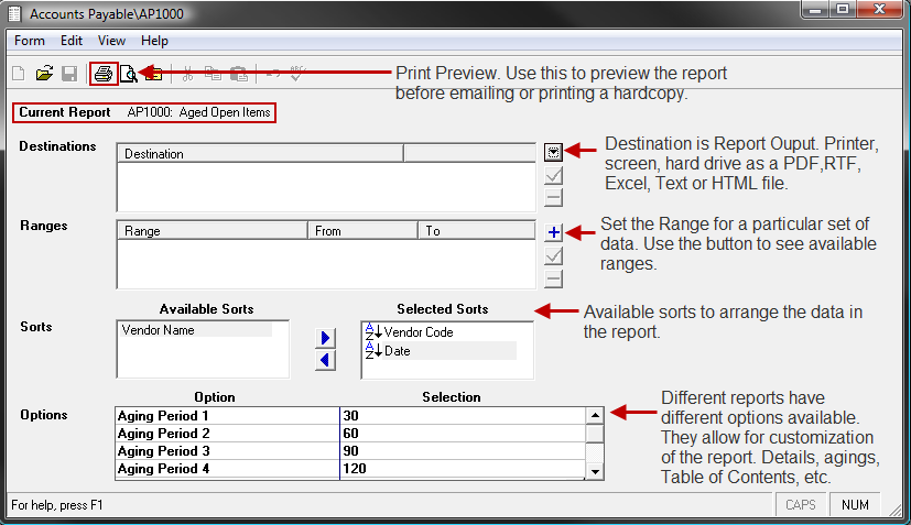 A window containing the requested report displays. 4. To select or change a report s output format or destination printer, use the drop down menu in the Destinations field. 5.