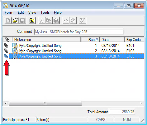 You can view attachments by double-clicking an expense on the main expense dialog box, and then double-clicking the