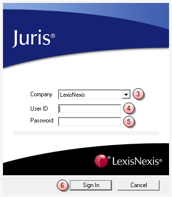 Login and password assistance Sign into Juris To sign into Juris: 1. Click the Windows Start button. 2. Select All Programs > Juris > Juris to open the login window. 3.