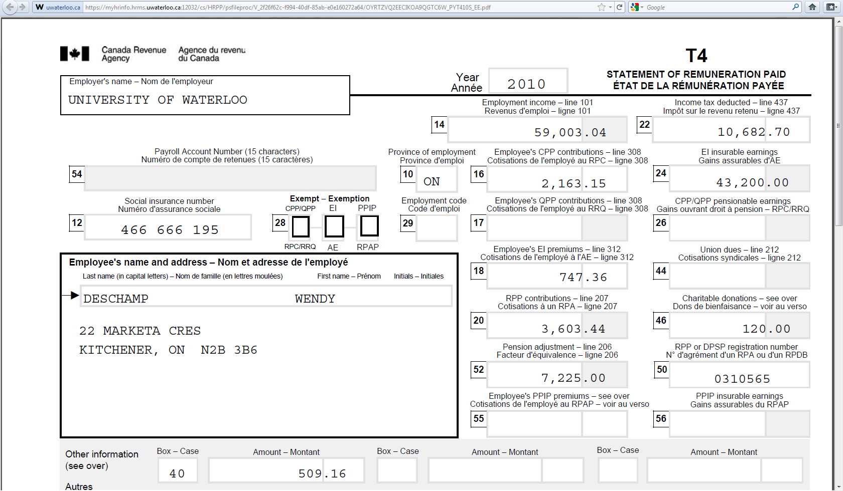 When an employee clicks on the hyperlink for the Year End Slip, a new window will open with the tax slip.