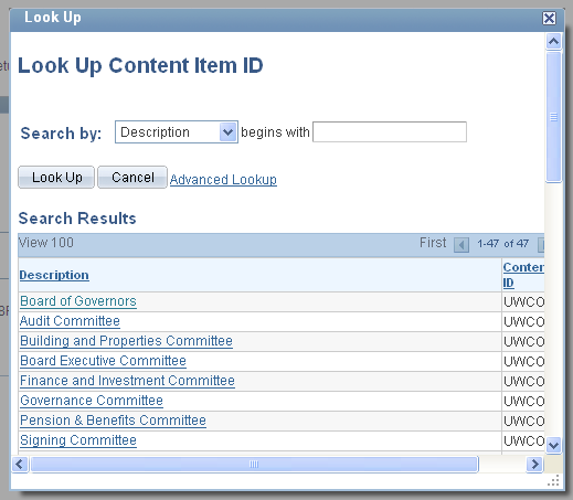 Employees can add the UW Committees that they have by clicking on the