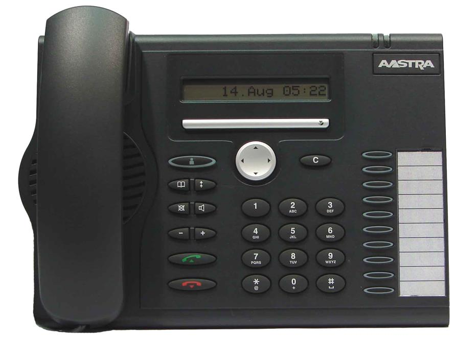 Aastra Office 60 & 60IP Overview of the phone 2 line (1 symbol, 1 display) / 16 character display Message and Phone Status LEDs Absence Redial Phone Book Loudspeaker Microphone key Volume (+ / -)