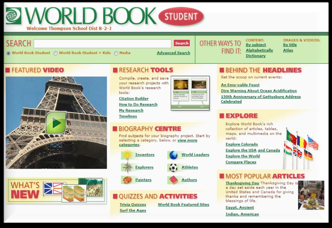 http://worldbookonline.com World Book Online includes access to seven different encyclopedias, geared towards certain subjects and for students of different grade levels.