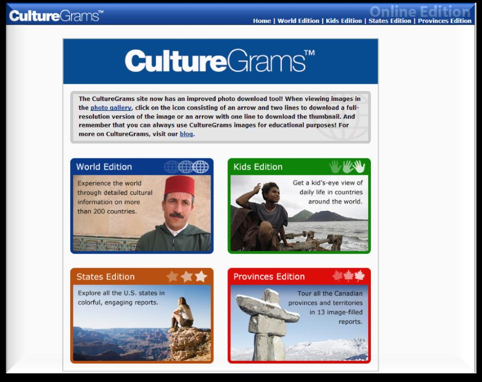 http://online.culturegrams.com/ CultureGrams Online Database is a leading reference for concise, reliable, and upto-date cultural information on countries across the globe.