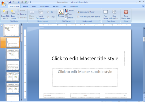 Maximizing the Use of Slide Masters to Make Global Changes in PowerPoint This document provides instructions for using slide masters in Microsoft PowerPoint.