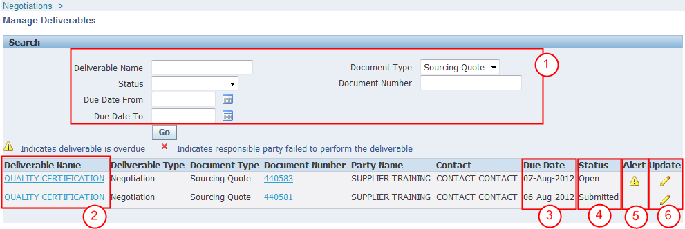 8.6. MANAGE DELIVERABLES View and manage deliverables related to RFQ documents by clicking on the Deliverables hyperlink in the Quick Links section on the Negotiations tab, as shown in section 8.