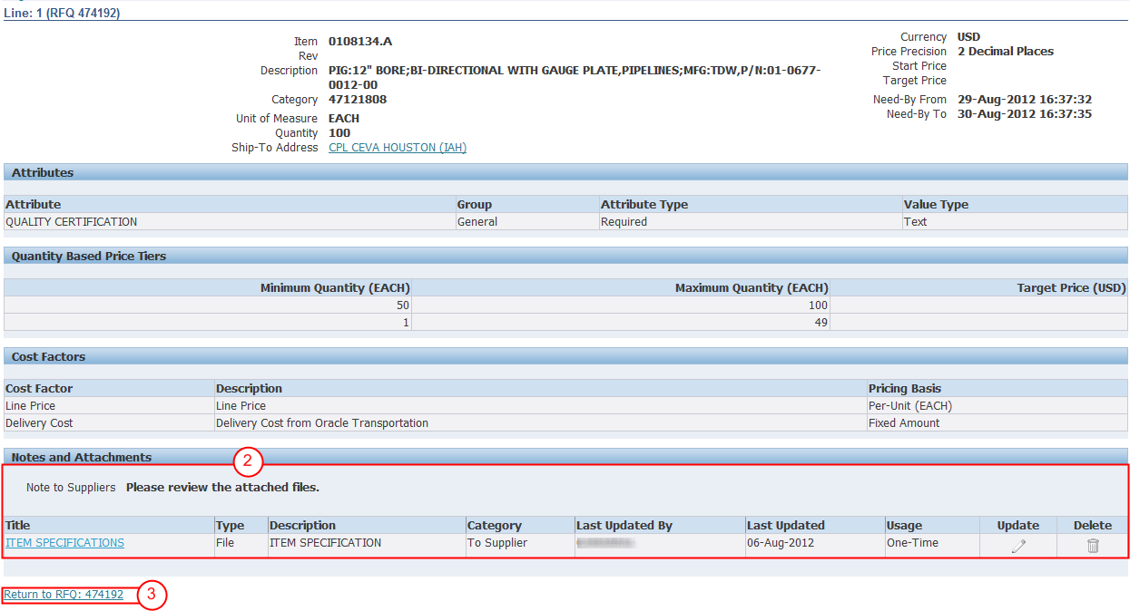 4.2. REVIEW THE RFQ LINES TAB The Lines tab shows the products or services, and the quantities requested in the RFQ.