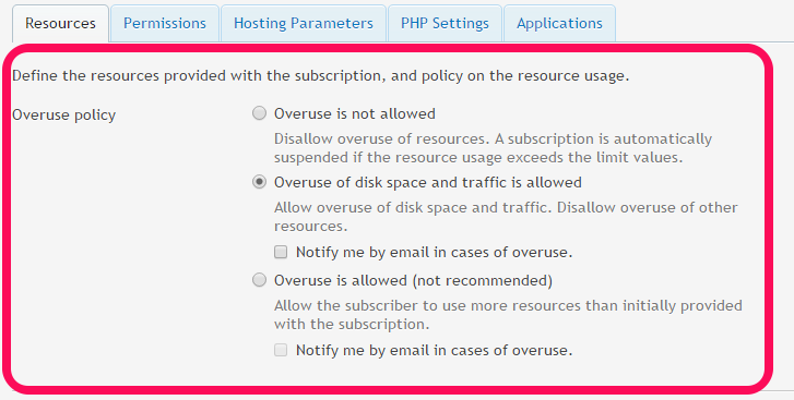 Overuse is not allowed: This disallows overuse of resources and the subscription gets suspended if the resource usage exceeds the values.