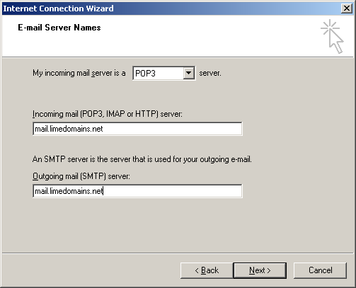 6. Enter 'mail.limedomains.net in the 'Incoming mail (POP3, IMAP or HTTP) server:' field. Enter 'mail.limedomains.net in the 'Outgoing mail (SMTP) server:' field.