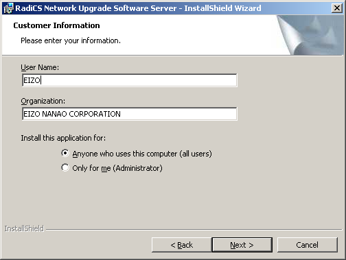 3. The Choose Setup Language screen appears. Select the language and click [OK]. 4. The RadiCS Network Upgrade Software Server - InstallShield Wizard screen appears. Click [Next]. 5.